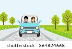 driving  couple  spring road ... | Shutterstock .eps vector #364824668