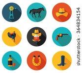 flat icons cowboy in vector... | Shutterstock .eps vector #364834154
