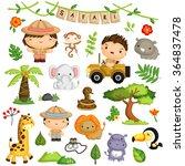 Safari Kids And Animal Vector...