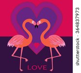 couple flamingos with hearts in ...   Shutterstock .eps vector #364837973