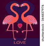 couple pink flamingos in love....   Shutterstock .eps vector #364837976