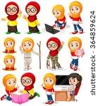 muslim girl in different... | Shutterstock .eps vector #364859624