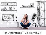 dreaming about new apartment.... | Shutterstock . vector #364874624