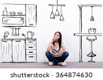 dreaming about new kitchen.... | Shutterstock . vector #364874630