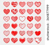 heart icons set  hand drawn ... | Shutterstock .eps vector #364877999