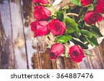 Stock photo red roses on wood background valentines day background wedding day 364887476