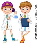 boys in science gown writing... | Shutterstock .eps vector #364888736