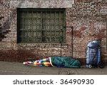 Homeless Soul Sleeping On The...