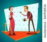 journalist interviews young... | Shutterstock .eps vector #364928516