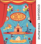 amazing circus show poster with ... | Shutterstock .eps vector #364930010
