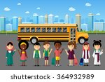 multinational kids going to... | Shutterstock . vector #364932989