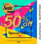 super sale banner. vector... | Shutterstock .eps vector #364949360