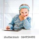 happy little girl and her magic ... | Shutterstock . vector #364954490