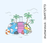 luggage summer location trip... | Shutterstock .eps vector #364972973