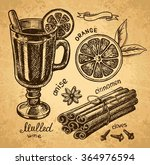 mulled wine set with glass of... | Shutterstock .eps vector #364976594