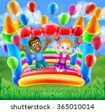 two kids having fun jumping on... | Shutterstock .eps vector #365010014