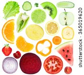 slices of fruit and vegetable... | Shutterstock . vector #365019620