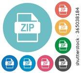 flat zip file format icon set...