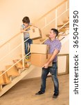 family moving into a new house | Shutterstock . vector #365047850
