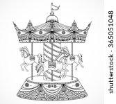 Vintage Carousel. Hand Drawn...