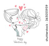 cute girl and boy. valentine's...