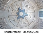 Small photo of blue spinning agitator (selective focus) inside a washing machine