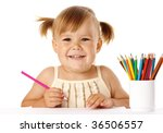 happy child play with colorful... | Shutterstock . vector #36506557