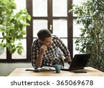young man working in cool... | Shutterstock . vector #365069678