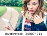 young sad beautiful woman... | Shutterstock . vector #365074718