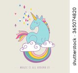 cute magic unicorn and rainbow... | Shutterstock .eps vector #365074820