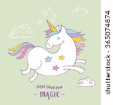cute magic unicorn and rainbow... | Shutterstock .eps vector #365074874