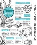 seafood restaurant brochure ... | Shutterstock .eps vector #365077838