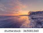 Beautiful Sunrise At A Frozen...