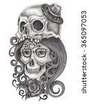 skull art day of the dead. hand ...   Shutterstock . vector #365097053