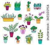 cute hand drawn vector flowers... | Shutterstock .eps vector #365101916