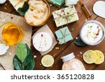 Stock photo close up of body care cosmetic products on wood 365120828
