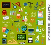 school supplies and education... | Shutterstock .eps vector #365133980