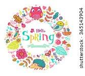 hello spring banner in doodle... | Shutterstock .eps vector #365143904