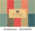 Set of Ten Vector Seamless Organic Rounded Lines And Drips Biological Patterns In Blue Red and Tan Colors Abstract Background | Shutterstock vector #365160290