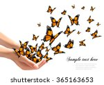 Stock vector hands releasing butterflies vector illustration 365163653