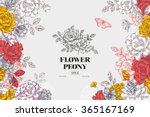 vintage peony flower background.... | Shutterstock .eps vector #365167169