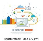 green eco and eco friendly city ... | Shutterstock .eps vector #365172194