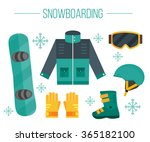 vector set of snowboarding... | Shutterstock .eps vector #365182100