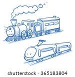 cute set of trains  locomotives ... | Shutterstock .eps vector #365183804