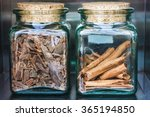 two glass jars of spices and... | Shutterstock . vector #365194850
