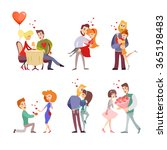 set of  happy cartoon couples...