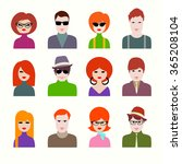 vector avatar icon set of boys... | Shutterstock .eps vector #365208104