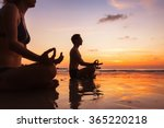 group of people meditating on... | Shutterstock . vector #365220218