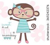bespectacled pretty monkey...   Shutterstock .eps vector #365242376