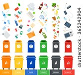 garbage cans vector flat... | Shutterstock .eps vector #365242904